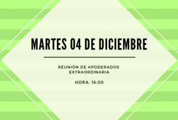 REUNIÓN DE APODERADOS EXTRAORDINARIA MARTES 04 DE DICIEMBRE