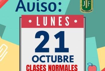 Clases Normales Lunes 21 de Octubre