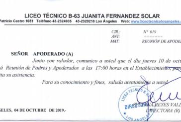 REUNIÓN DE APODERADOS JUEVES 10 DE OCTUBRE