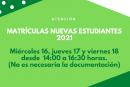 Cambio en fechas de Matrícula.
