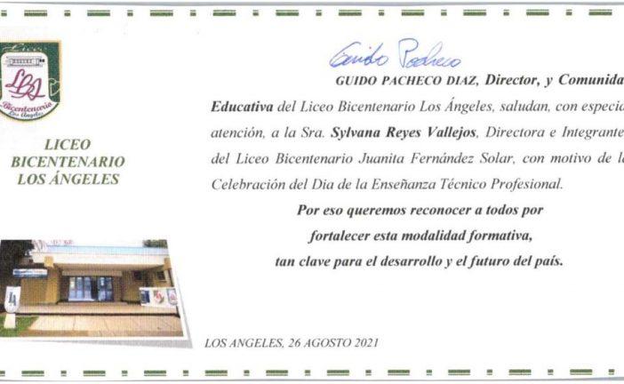 SALUDO DEL DIRECTOR DEL LICEO BICENTENARIO LOS ÁNGELES A LA COMUNIDAD LICEO TÉCNICO BICENTENARIO JFS