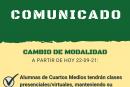 MEDIDAS COVID19 –  SOLO CUARTOS MEDIOS PODRÁN ASISTIR A CLASES PRESENCIALES